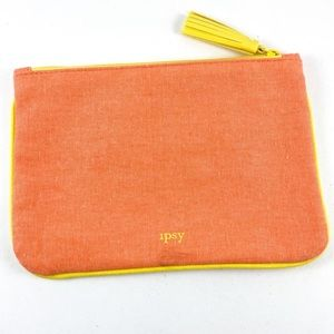 Ipsy Coral Peach Canvas Make Up Bag